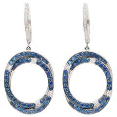 Circle Pave Sapphires Diamonds 18 Karat White Gold Earrings