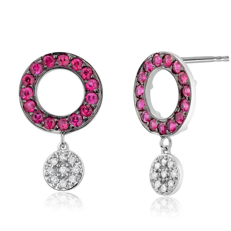 Contemporary Circle Ruby and Dangle Diamond White Gold Cluster Earrings