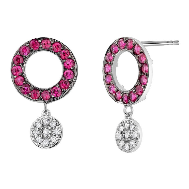 Circle Ruby and Dangle Diamond White Gold Cluster Earrings