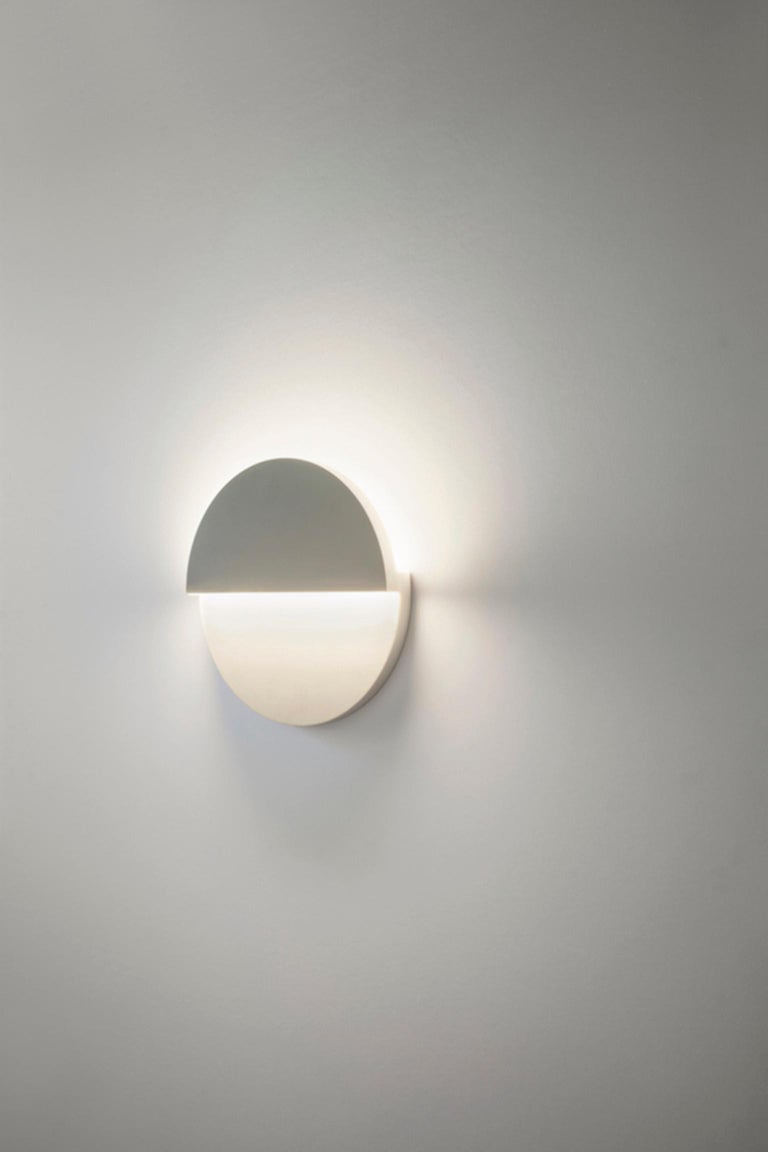 Modern Circle Sconce in White Corian For Sale