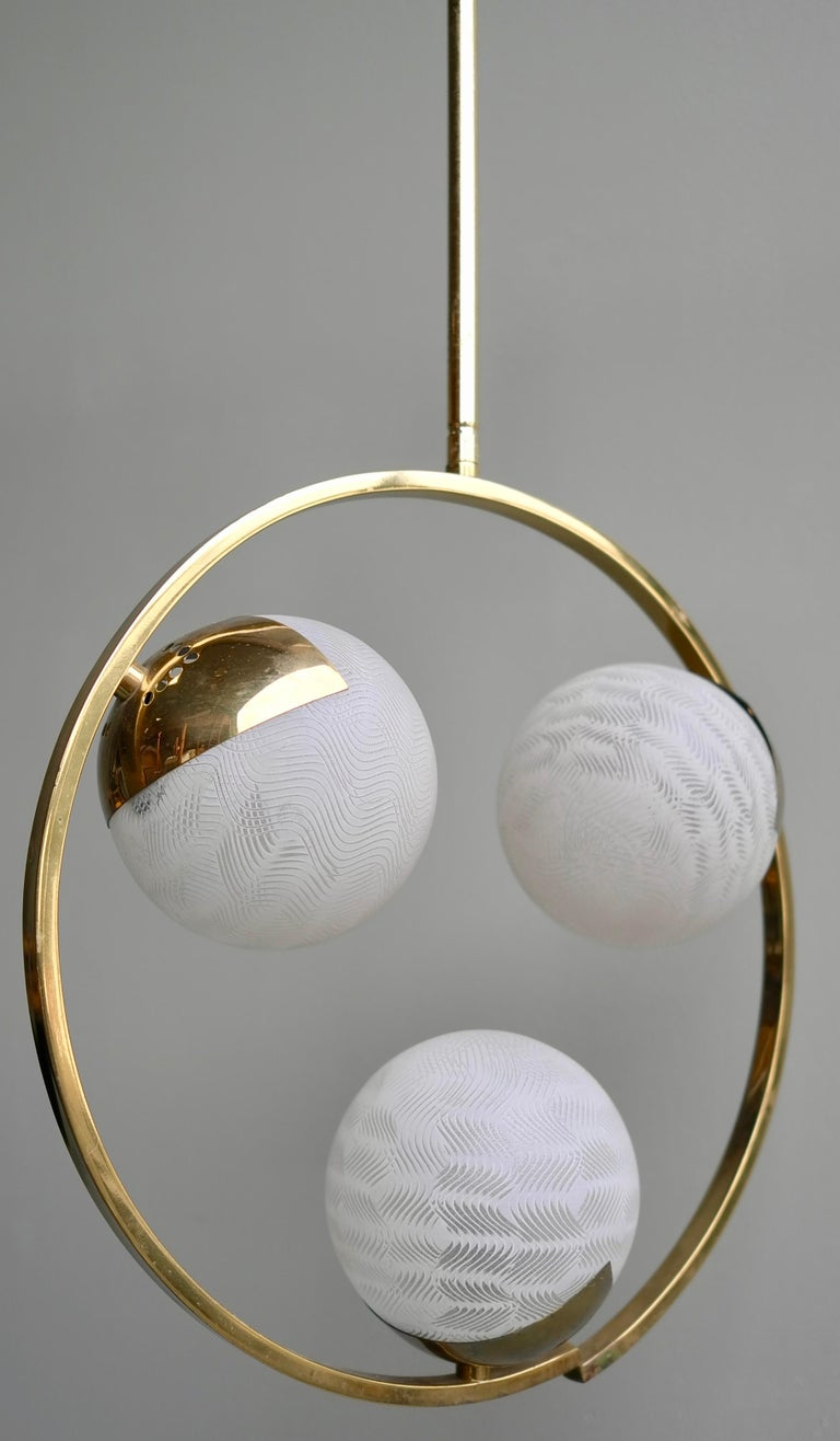 Circle Shaped Opaline Glass and Brass Pendant, Italy, attrib to Stilnovo, 1960s For Sale 2