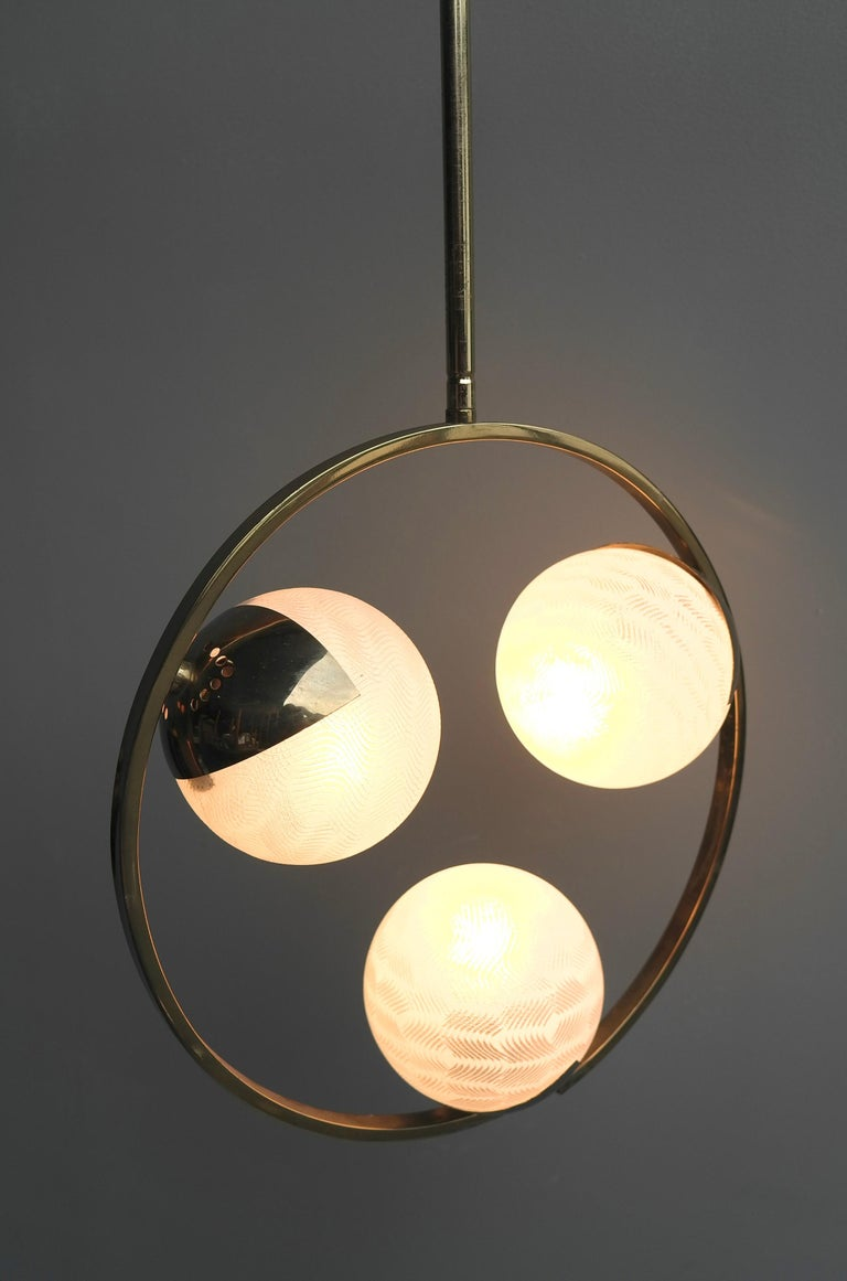 Circle Shaped Opaline Glass and Brass Pendant, Italy, attrib to Stilnovo, 1960s For Sale 3