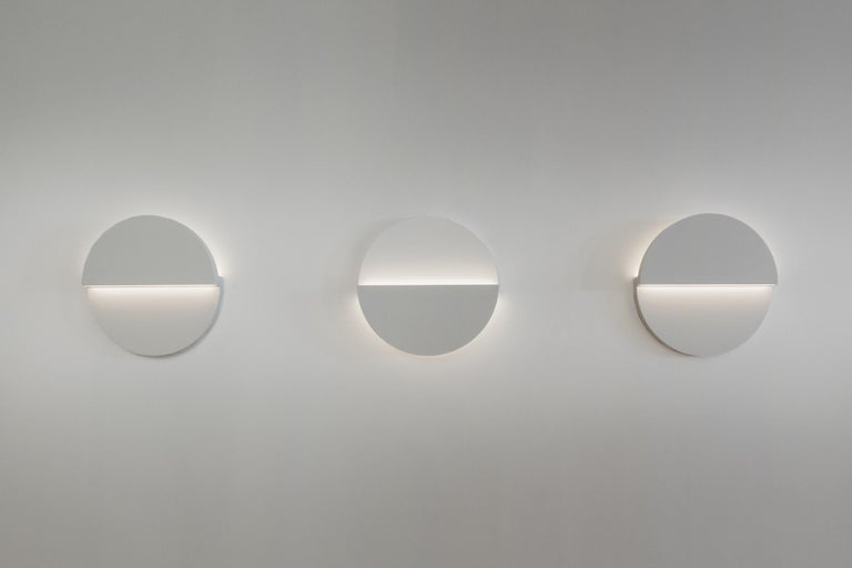 American Circle Wall Light and Sculpture in White Corian For Sale