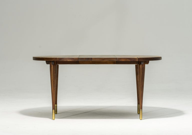 Modern Circle Walnut Expanding Dining Table w/ Brass Capped Legs