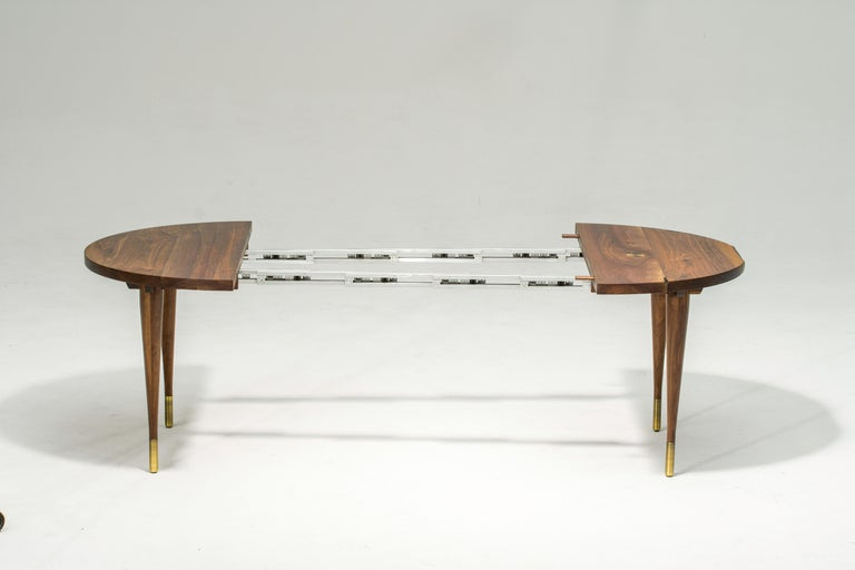 Metalwork Circle Walnut Expanding Dining Table w/ Brass Capped Legs