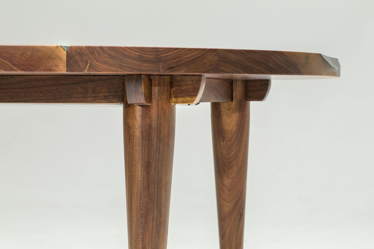 Contemporary Circle Walnut Expanding Dining Table w/ Brass Capped Legs