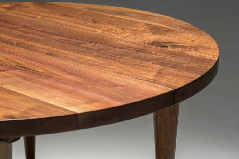 Circle Walnut Expanding Dining Table w/ Brass Capped Legs