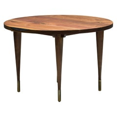 "Circle Walnut Expanding Dining Table w/ Brass Capped Legs ""Warren Dining Table"""