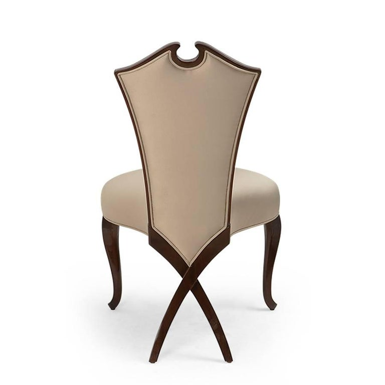 Circled Chair with Mahogany Structure and High Quality Fabric For Sale 1