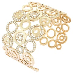 Circles Design Diamond 18 Karat Rose Gold Wide Open Cuff Bracelet
