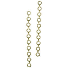 """Circles"" Diamond Dangling Earrings in Yellow Gold"