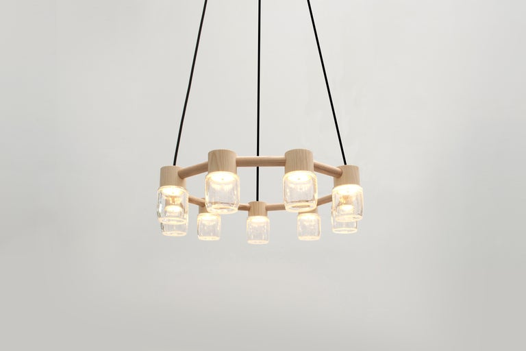 Modern Circlet Chandelier Clear Blown Glass Wood Led Lighting Contemporary For Sale