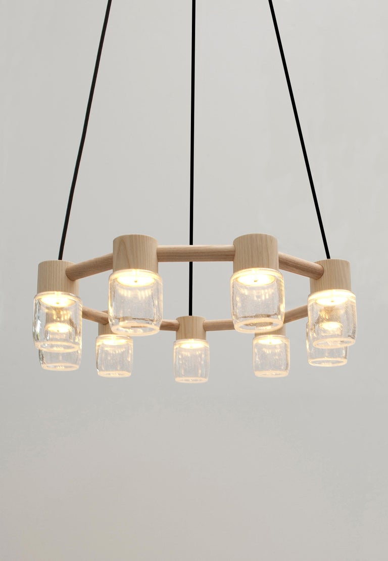 American Circlet Chandelier Clear Blown Glass Wood Led Lighting Contemporary For Sale