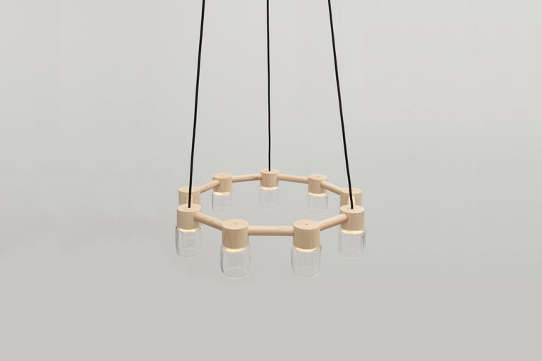 Circlet Chandelier Clear Blown Glass Wood Led Lighting Contemporary In New Condition For Sale In Bainbridge Island, WA