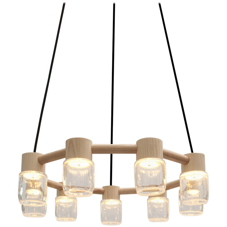 Circlet Chandelier Clear Blown Glass Wood Led Lighting Contemporary For Sale