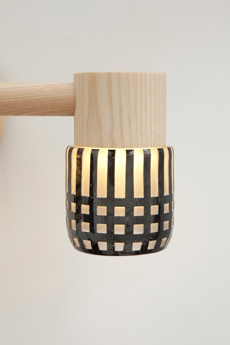 Modern Circlet Triple Sconce Grid Blown Glass Wood LED Lighting Contemporary For Sale