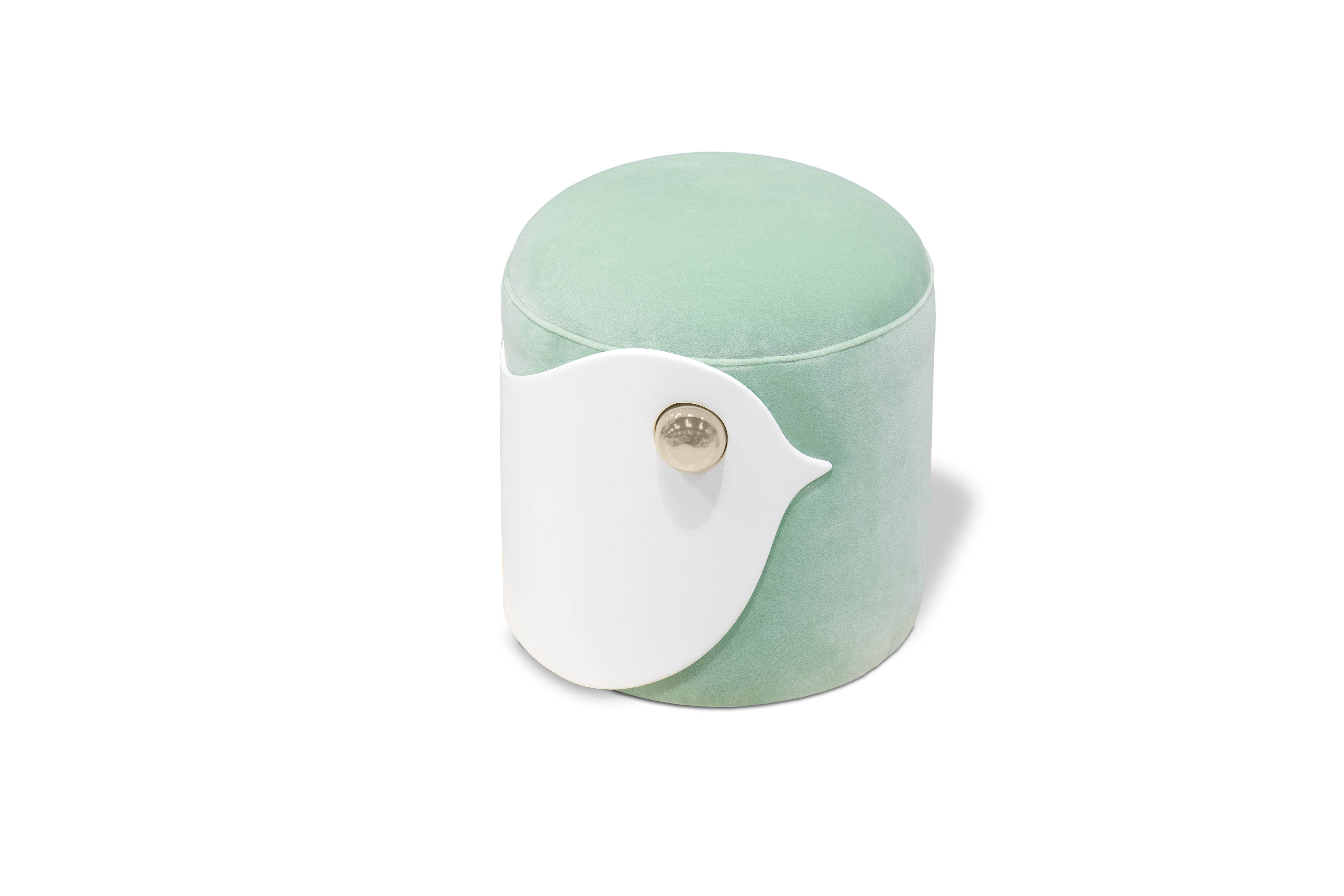 Prime Bird Stool In White Wood And Mint Green Velvet Machost Co Dining Chair Design Ideas Machostcouk