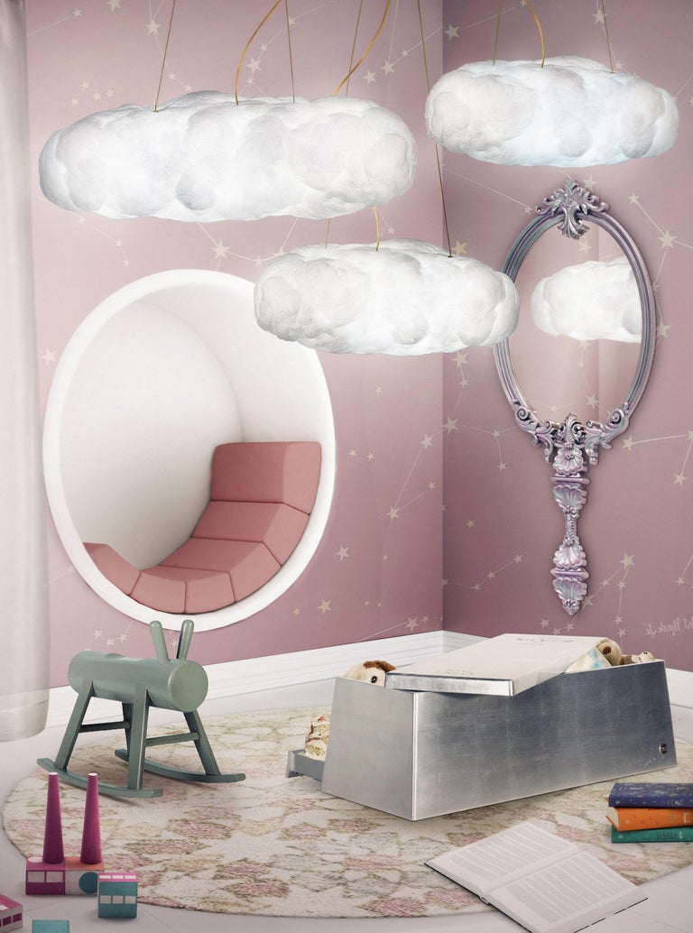 Cloud Pendant Light Big in White Cotton with Golden Wire For Sale 2