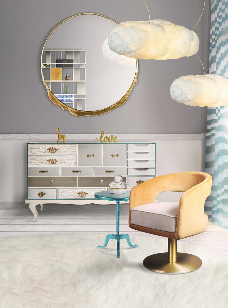 Cloud Pendant Light Big in White Cotton with Golden Wire For Sale 3