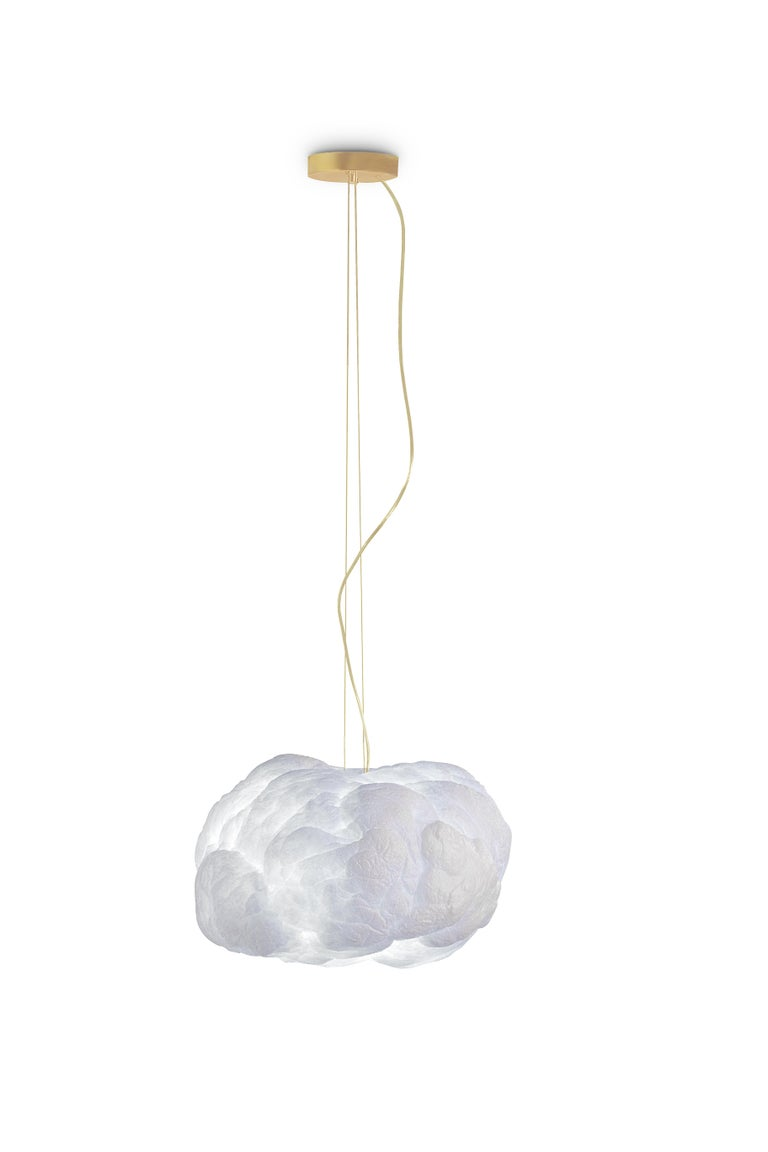 Portuguese Cloud Pendant Light Big in White Cotton with Golden Wire For Sale