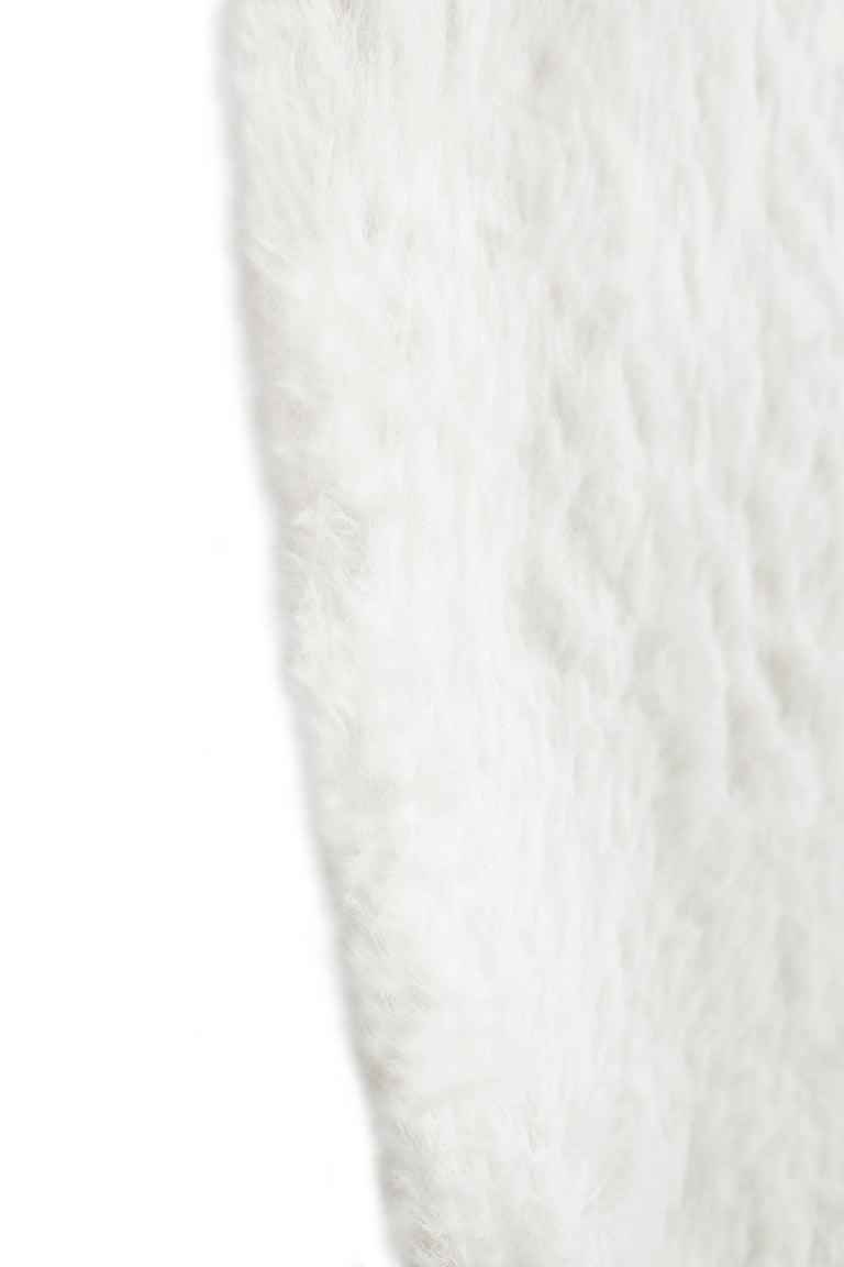 Modern Circu Cloud Printed Rug in White Faux Sheep Wool For Sale