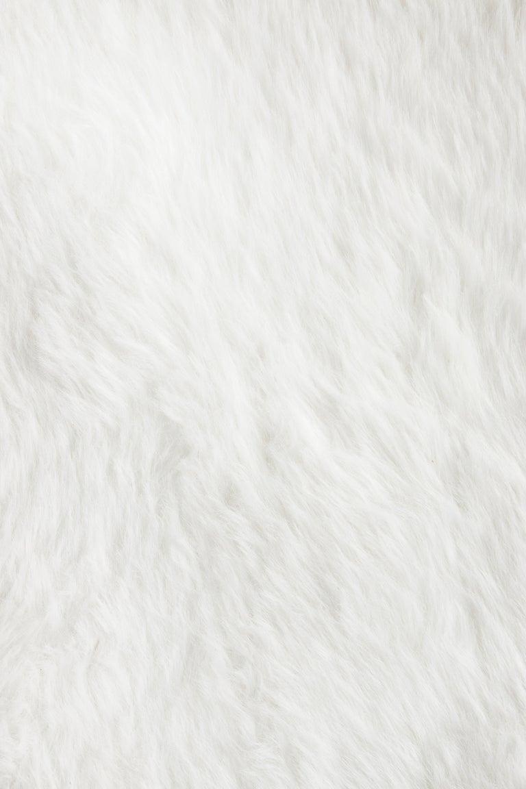 Portuguese Circu Cloud Printed Rug in White Faux Sheep Wool For Sale