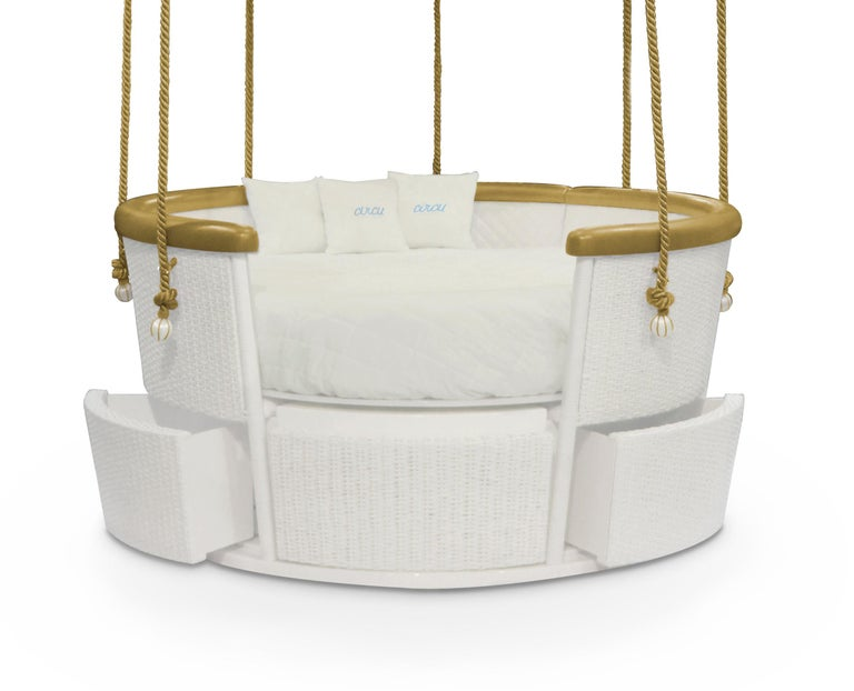 Modern Fantasy Air Balloon Bed in White Wood with Side Drawers and Gold Details For Sale