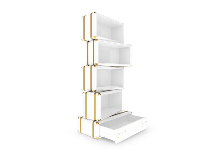 Fantasy Air Bookcase In Wood With Glossy White Lacquer