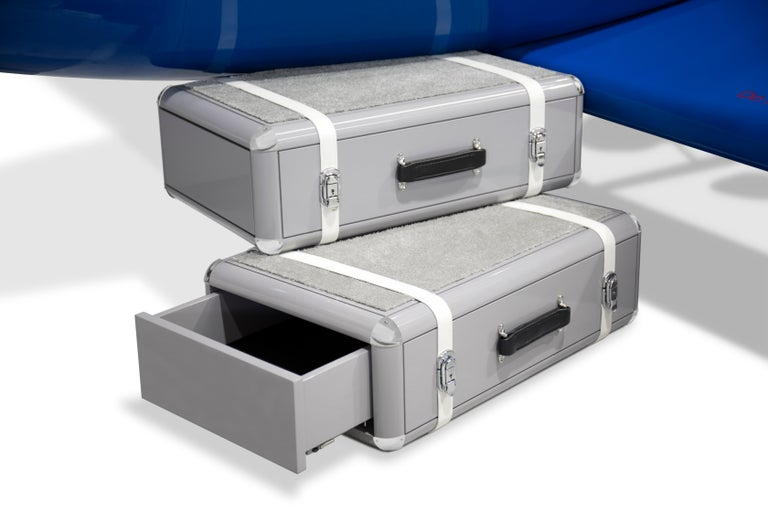 Sky One Plane Bed in Blue and White with Gray Luggage Steps For Sale 7