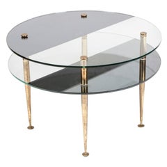 Circular 2-Tier Mid-1950s Low Table with Black and Clear Glass Top