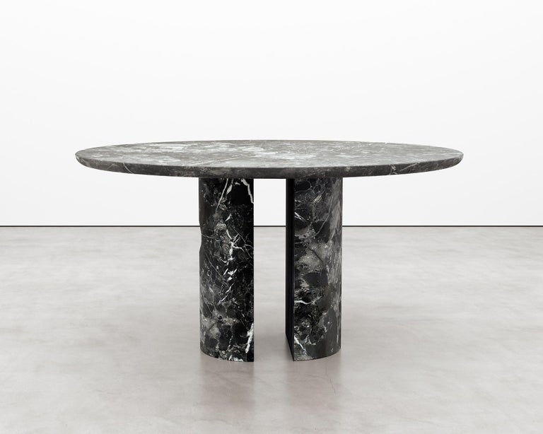 Circular 52-Inch Black Marble Meta Dining Table by Phillip Jividen In New Condition For Sale In Brooklyn, NY