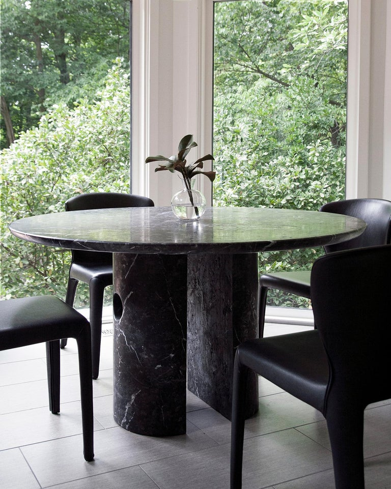 Circular 52-Inch Black Marble Meta Dining Table by Phillip Jividen For Sale 3