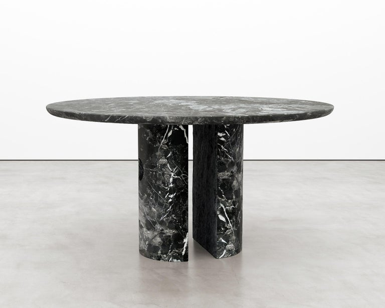 Minimalist Circular 52-Inch Black Marble Meta Dining Table by Phillip Jividen For Sale