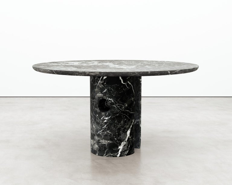American Circular 52-Inch Black Marble Meta Dining Table by Phillip Jividen For Sale