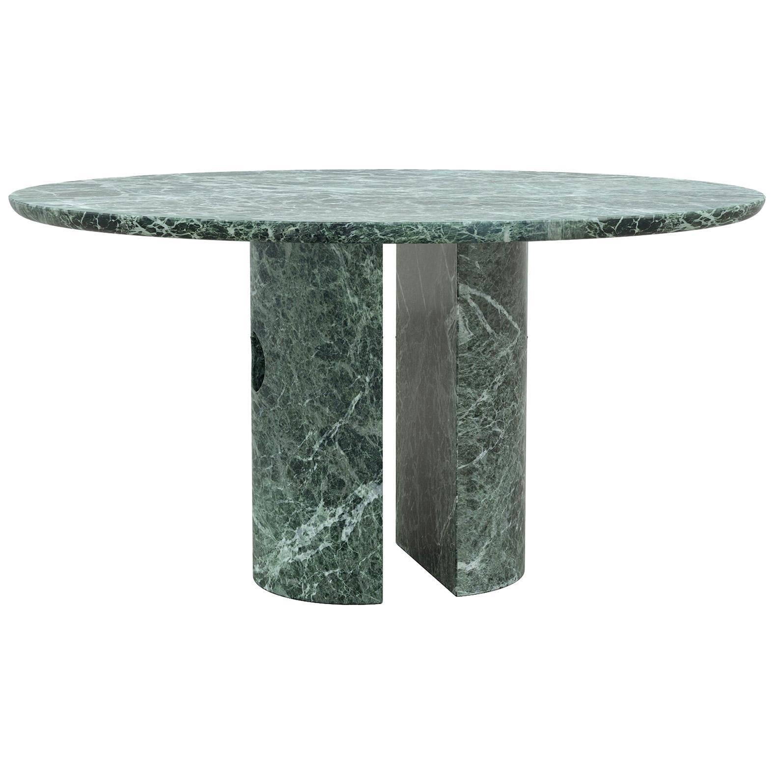 Circular Green Marble Meta Dining Table by Phillip Jividen