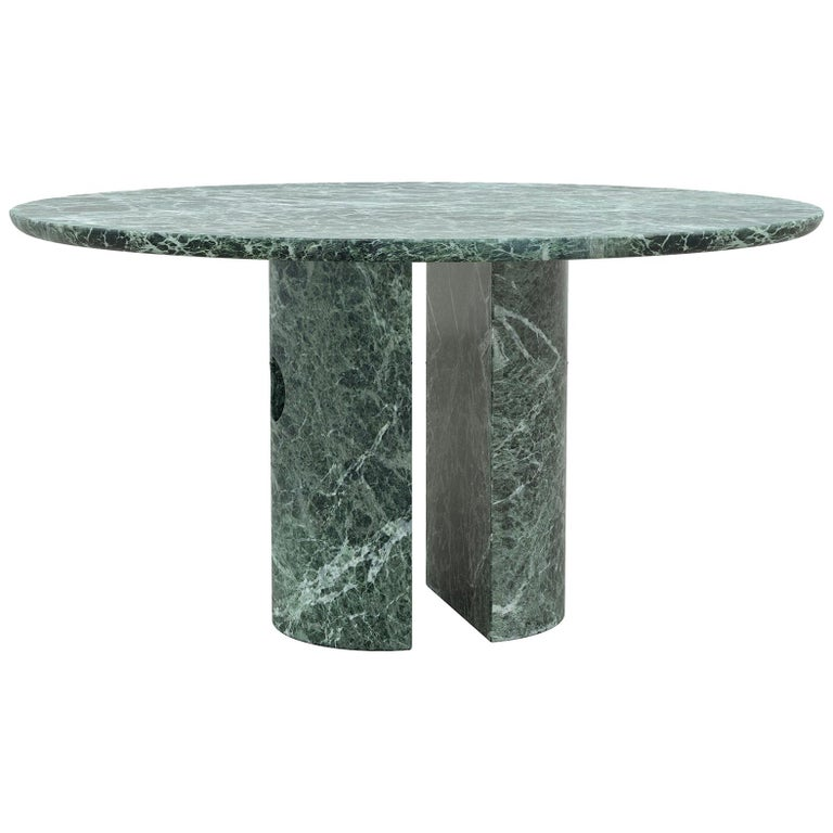 Circular Green Marble Meta Dining Table by Phillip Jividen For Sale