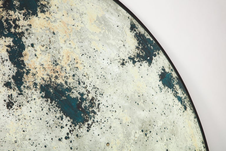 Circular Acid-Washed Mirror, Modern For Sale 6