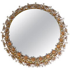 Circular Backlit Mirror with Crystal Flowers by Palwa, circa 1960s