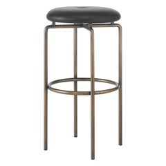 Circular Bar Stool in Bronze and Leather Designed by Craig Bassam