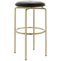 Circular Bar Stool in Satin Brass and Leather Designed by Craig Bassam
