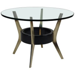 Circular Bevelled Glass Coffee Table with Solid Brass Supports, Italy, C.1955