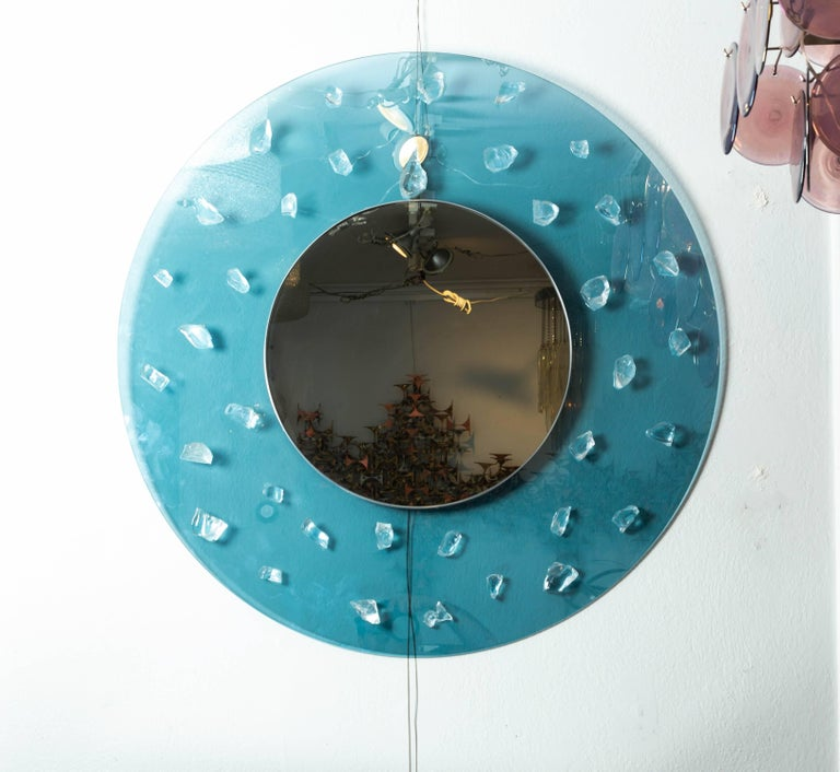 Mid-Century Modern Circular Blue Glass Surround Mirror with Applied Glass Fragments For Sale