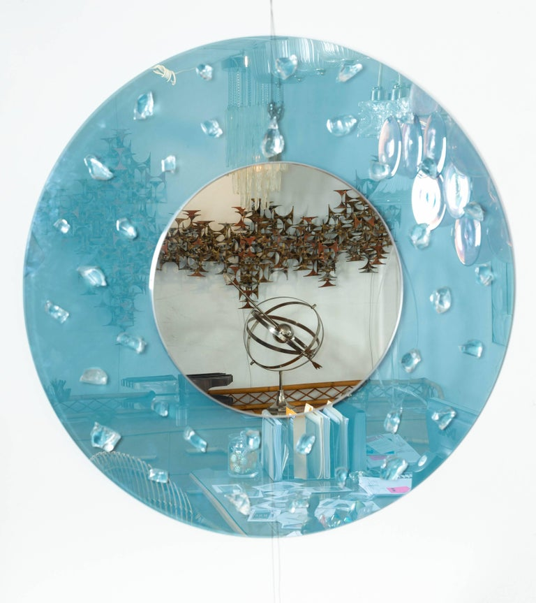 Italian Circular Blue Glass Surround Mirror with Applied Glass Fragments For Sale