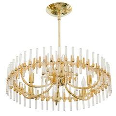 Circular Brass and Tubular Glass Chandelier