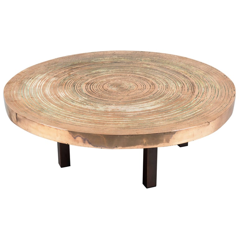 "Circular Bronze ""Goutte d'eau"" Table by Ado Chale, Belgium, 1970s For Sale"