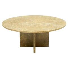 Circular Brown Marble Coffee Table, 1970s