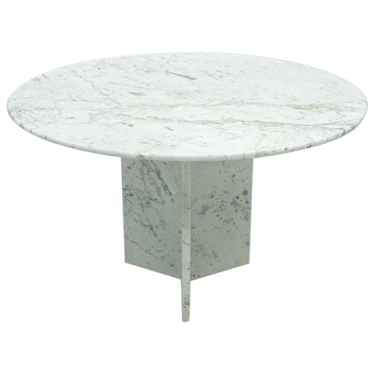 Circular Carrara Marble Dining Table, Italy, 1970s
