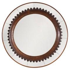Circular Carved Walnut Wall Mirror by Fratelli Marelli for Framar, Italy 1950s