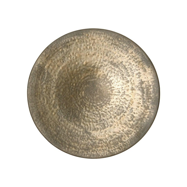 Circular Ceramic Wall Sculpture #2 with Dappled Bronze Glaze by Sandi Fellman For Sale