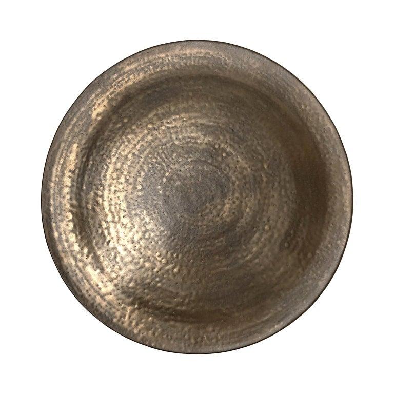 Circular Ceramic Wall Sculpture #3 with Dappled Bronze Glaze by Sandi Fellman For Sale
